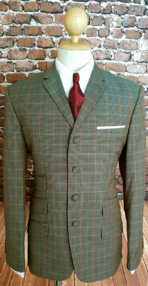 Desmond Green and orange check suit. 38R with 32w/32 This suit only